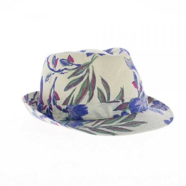 achat en ligne du chapeau trilby - Chapeau Fleurs bleu