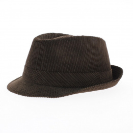 Trilby hat brown velvet