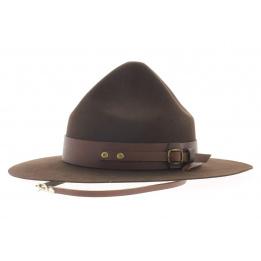 Chapeau scout feutre poil marron