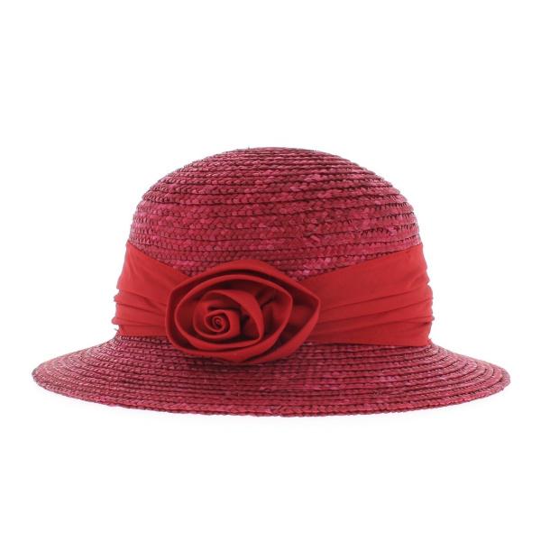 Chapeau cloche paille rouge