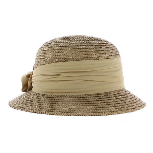 Chapeau cloche paille beige