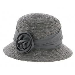 Chapeau cloche paille gris anthracite