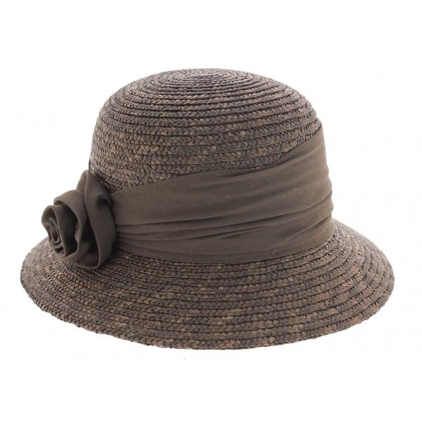Chapeau cloche paille marron