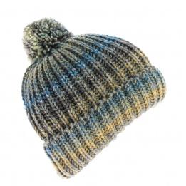 Bonnet Agrume bleute à Pompon-rayure turquoise gris jaune moutarde