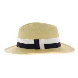 Chapeau panama fino aa ruban bleu blanc