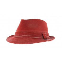 Chapeau trilby cuir rouge