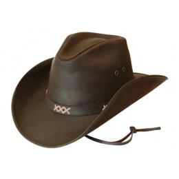 Chapeau western avec jugulaire - Pampa Safari cuir