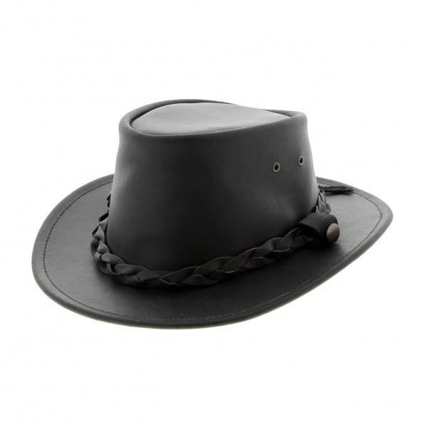 Chapeau cuir noir Highlander