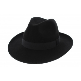 Fedora Felt Hat Black Wool Waterproof Black Hat - Traclet
