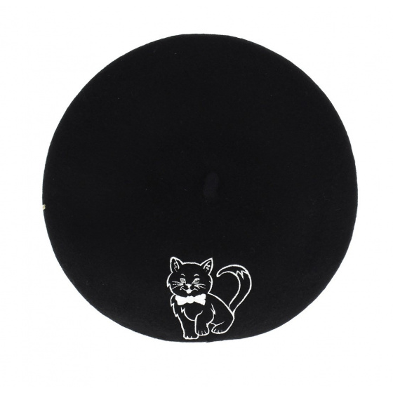Embroidery beret - Fancy cat