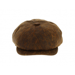 Newsboy Brown Leather Cap - Aussie Apparel