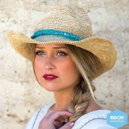Chapeau de Cowboy Castaway Paille Raffia Naturel - Rigon Headwear