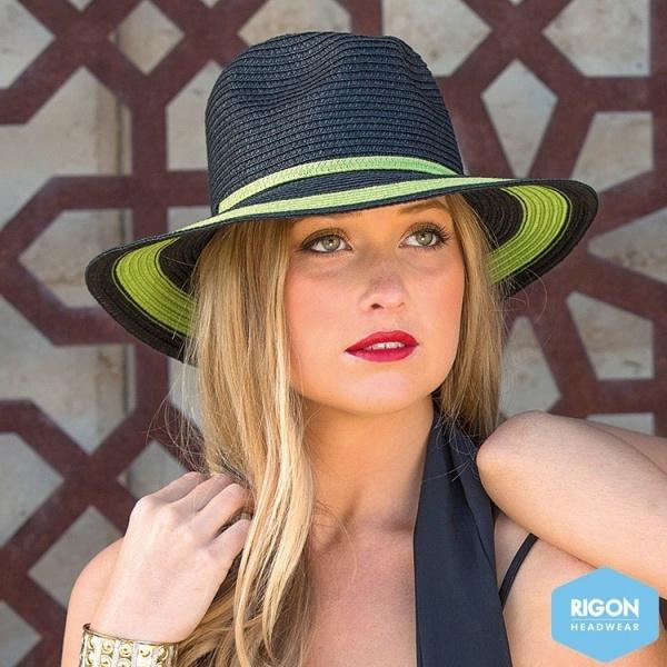 Chapeau Traveller Penelope Fibres Naturelles Noir/Vert - Rigon Headwear