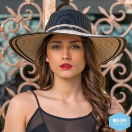 Capeline Bicolore Noir/Marron Fibres Naturelles - Rigon Headwear