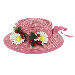 Mary Poppins Pink Straw Hat - Traclet
