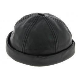 Bonnet Biker cuir noir - Bullet style Seven Jocker