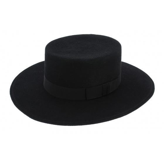 Seville Black Wool Felt Hat - Traclet