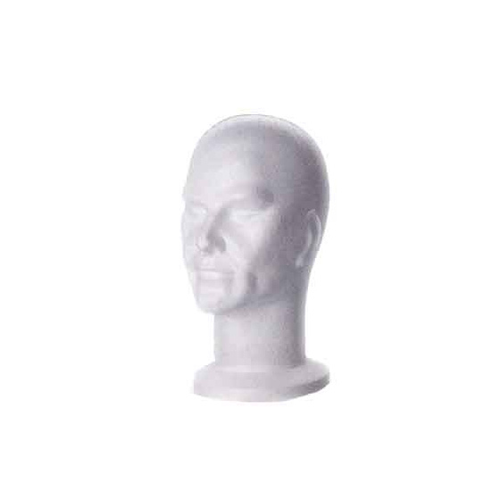 Male Polystyrene Head WHITE