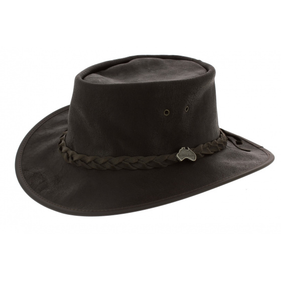 Brown Leather Traveller Hat - Ayers Rock