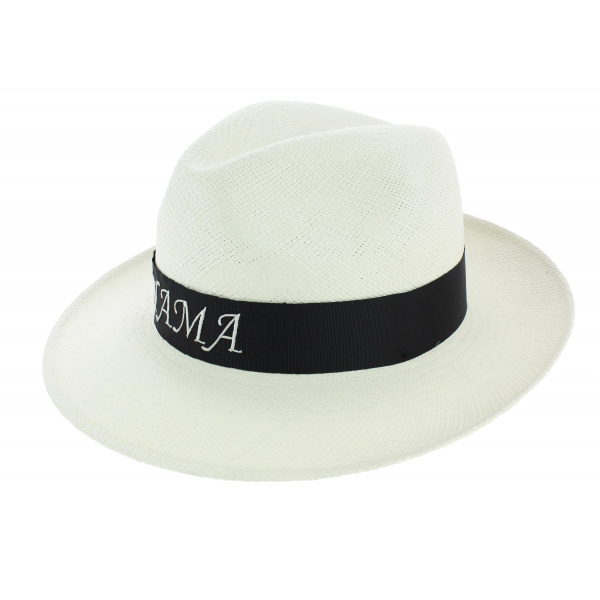 Chapeau Fédora Roca Brava Panama Ruban Brodé - Traclet
