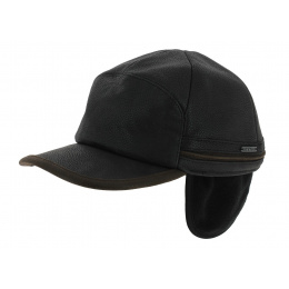 Byers earflaps Stetson cap - black leather
