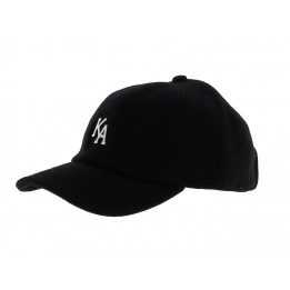 Letterman Curved Peak Black Cap - KING APPAREL
