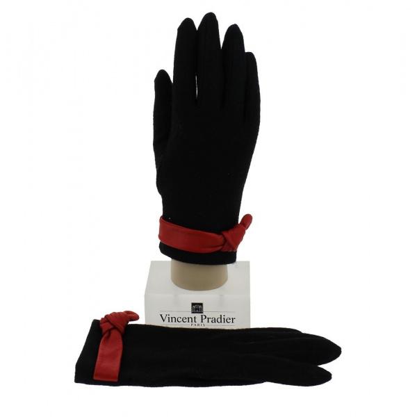 Wool & Black Leather Women's Gloves - Vincent Pradier