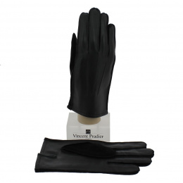 Sheepskin & Suede Black Leather Glove for Men - Vincent Pradier