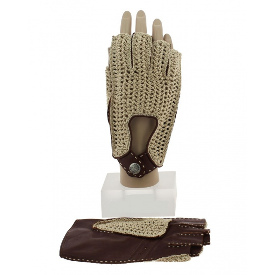 Brown Leather & Cotton Driving Mitt - Glove Story