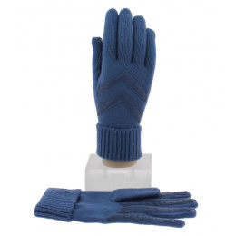 Women's Acrylic & Nylon Blue Gloves - Isotoner