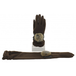 Gants Longs Montant Laine & Nylon Marron - Vincent Pradier