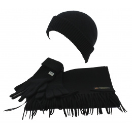 Big Cold Set Cap - Scarf & Gloves Black Wool - Traclet