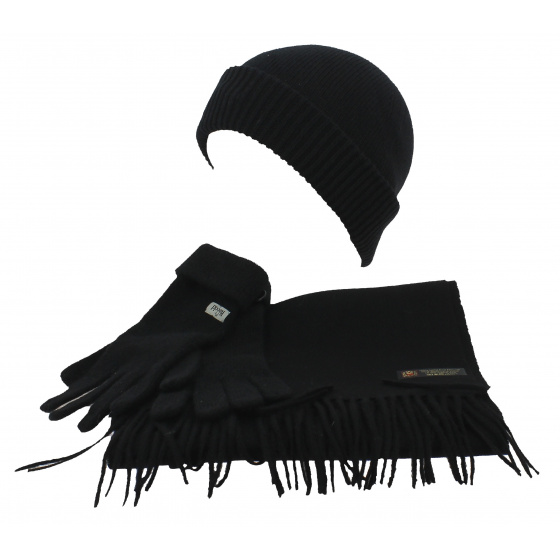 Cold weather hat - Scarf & Gloves Set Black Wool - Traclet