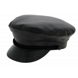 Casquette Marin Padock Cuir Noir - Traclet