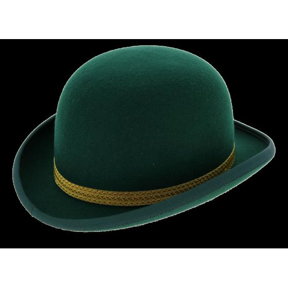 Chapeau Melon Feutre Laine Passementerie Vert - Traclet
