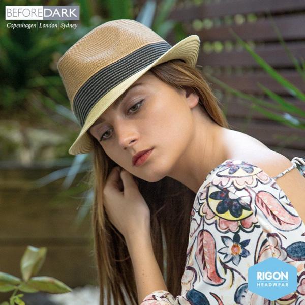 Chapeau Trilby Block Fibres Naturelles Noir & Beige - Rigon Headwear
