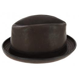 Chapeau PorkPie Winston Cuir Marron - Traclet