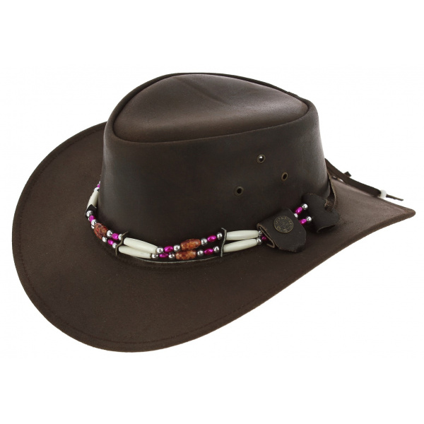 Chapeau Traveller Indiana Cuir Marron - Aussie Apparel