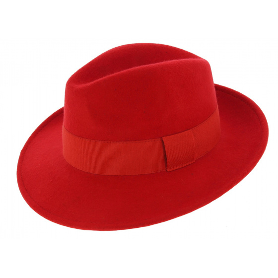 Fedora Hat Waterproof Felt Felt Wool Vanador Red - Traclet