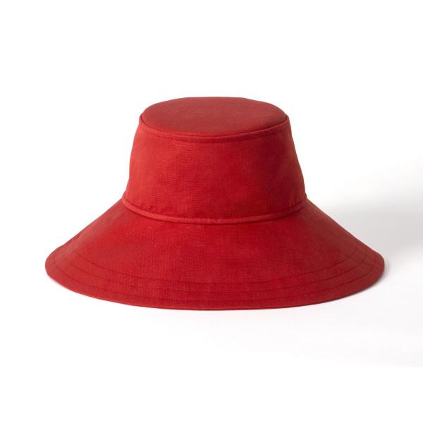 The woman's asymmetrical floppy hat