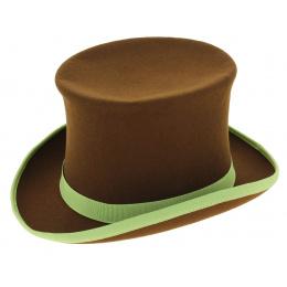 Chapeau Haut de Forme Hatta Feutre Laine Marron - Traclet