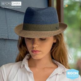 Chapeau Trilby Block Fibres Naturelles Bleu & Gris - Rigon Headwear