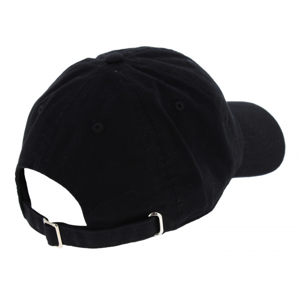 Black Cotton Chanvred Strapback Cap - Kbethos