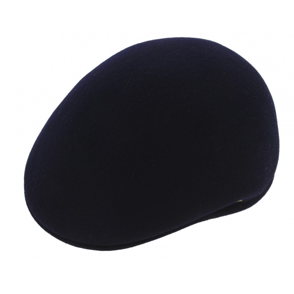 Navy rigid wool domed cap -TRACLET