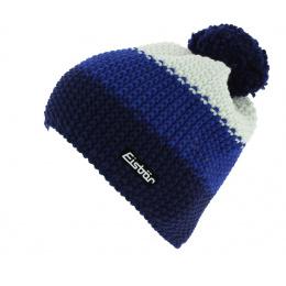 Bonnet Pompon Star Laine Bleu & Blanc - Eisbär