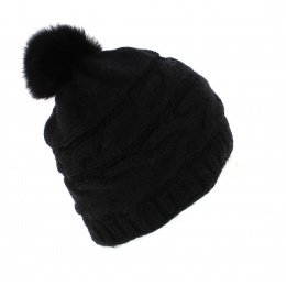 Bonnet Pompon Fourrure Foxy Noir - Traclet