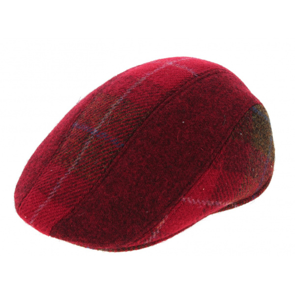 Casquette Plate en Harris Tweed Brighton rouge CRAMBES
