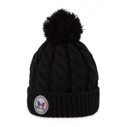Bonnet à pompon Gstaad Noir - Pipolaki