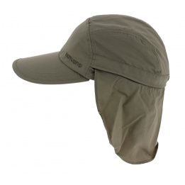 Janou UPF50+ cap with khaki neck cover - Hatland