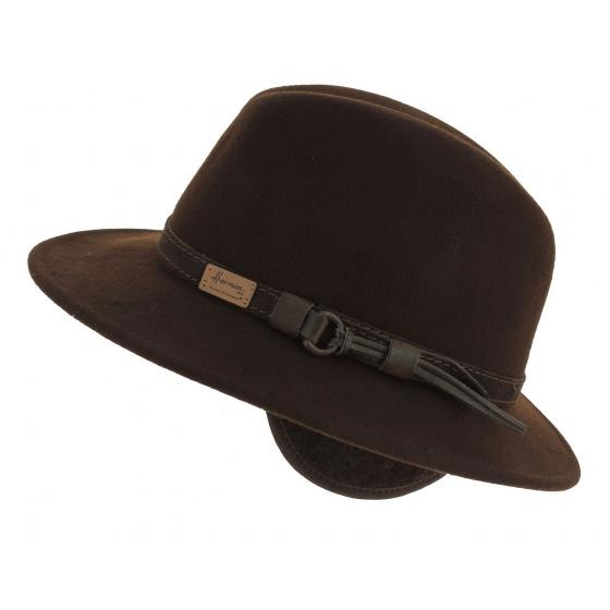 McGofer Traveller Hat Brown Wool Felt Earmuff - Herman